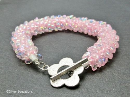 Baby Pastel Pink Beaded & Woven Petals Kumihimo Seed Bead Bracelet